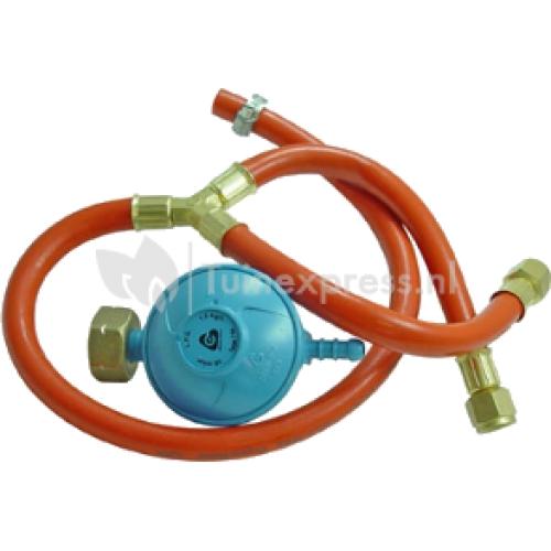 BBQ Gasdrukregelaar 30 mbar met splitter